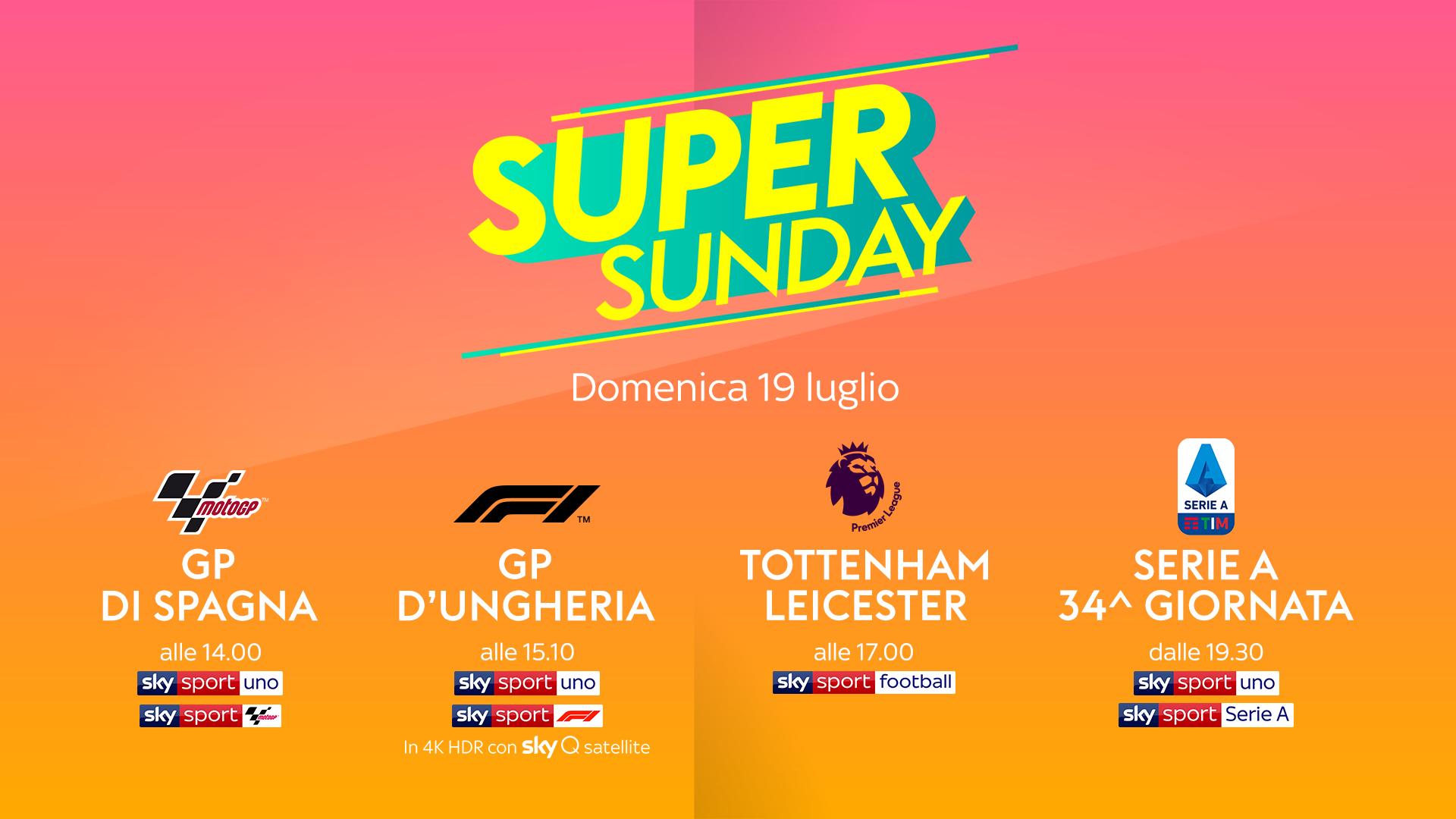 MotoGP, Formula 1, Premier e Serie A, su Sky Sport è Super Sunday!