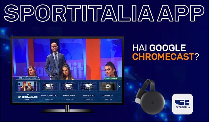 App Sportitalia con Google Chromecast. Notifiche per news calciomercato