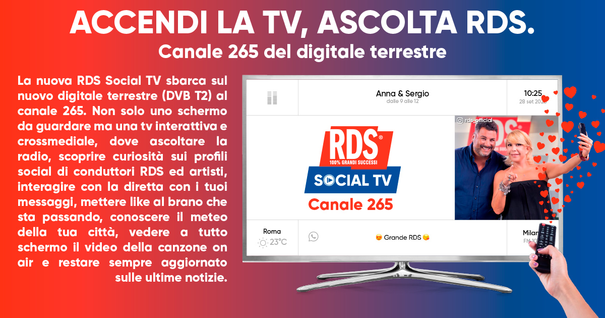 RDS lancia nuova piattaforma Social TV (anche sul digitale terrestre canale 265)