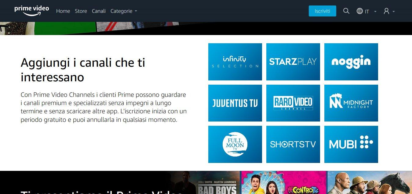 Amazon Prime Video lancia in Italia canali aggiuntivi a pagamento