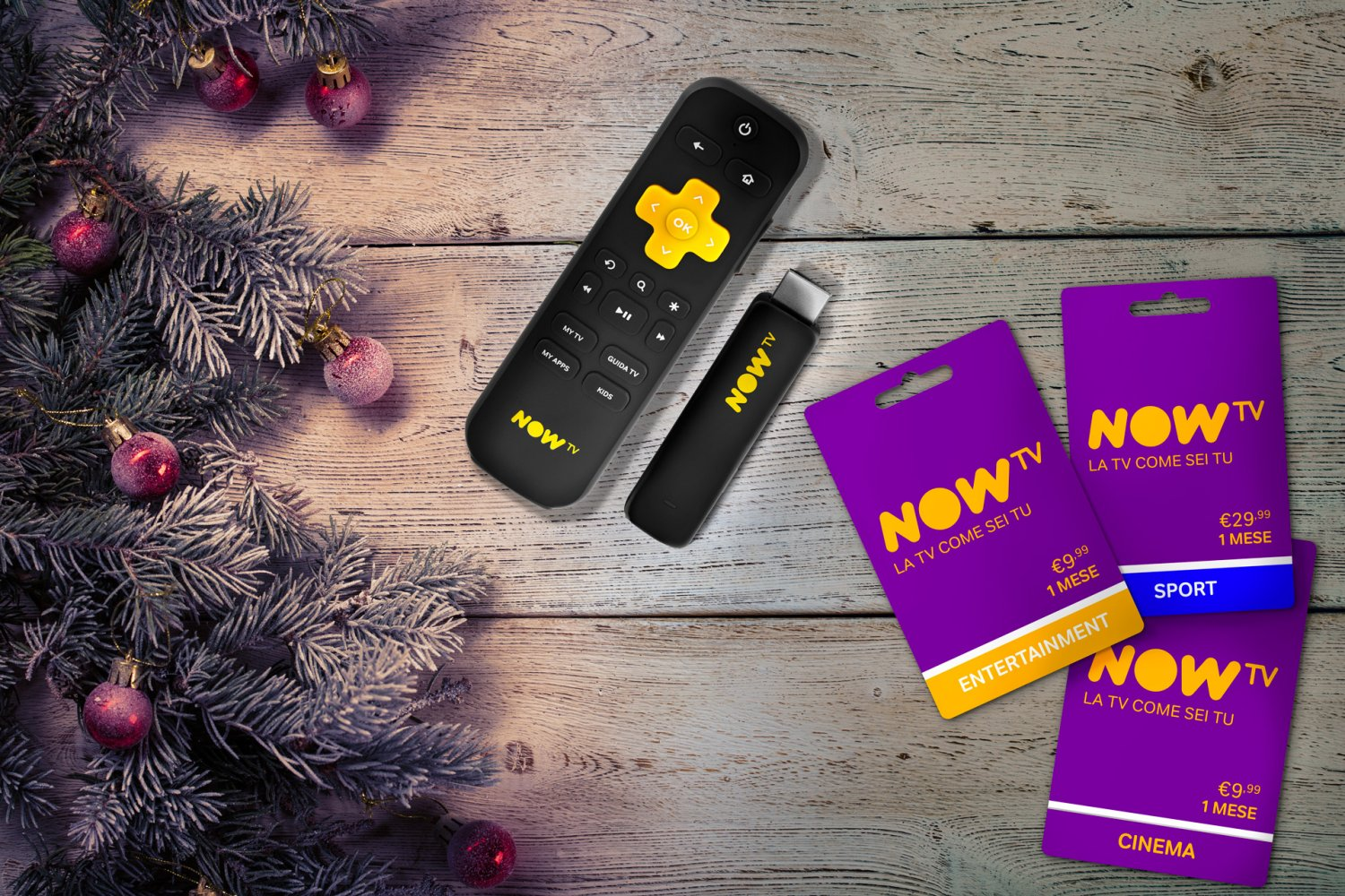 NOW TV Smart Stick e NOW TV Card accendono il Natale!