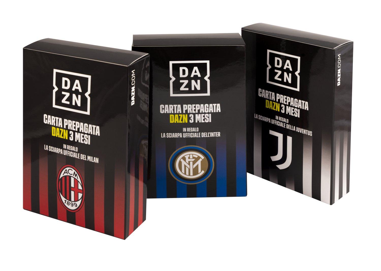 Card prepagata 3 mesi DAZN regala sciarpa di Milan, Inter o Juventus