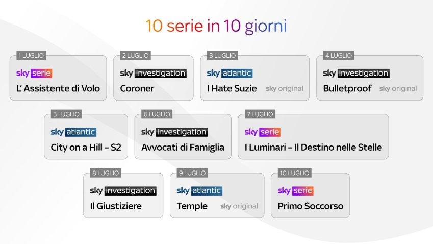 10 novità in 10 giorni per il lancio Sky Serie e Sky Investigation