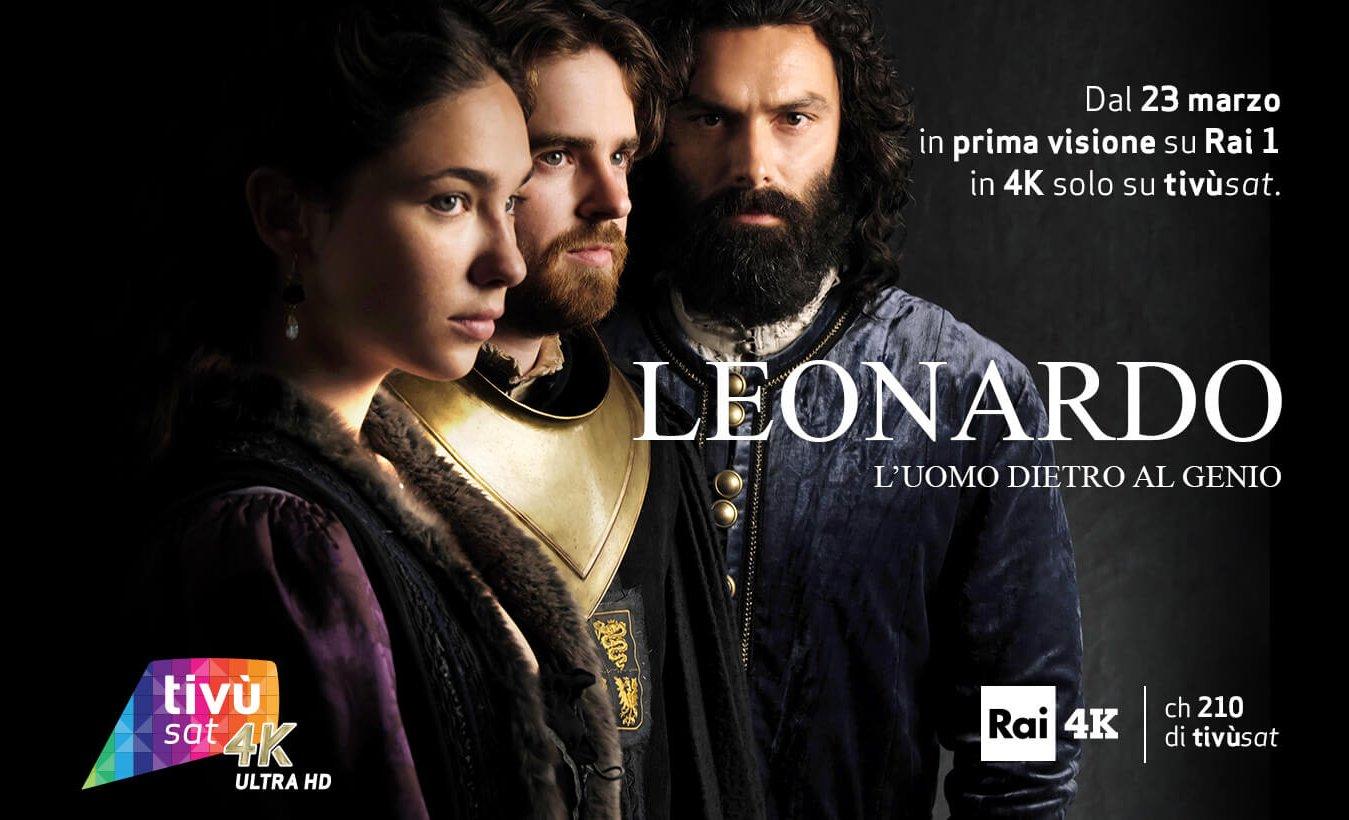 La fiction Leonardo in prima tv Ultra Alta Definizione su Rai 4K