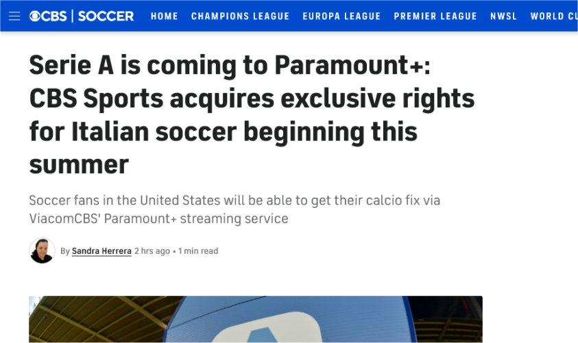 Diritti Esteri Serie A 2021-24 negli Stati Uniti a CBS Sports / Paramount+