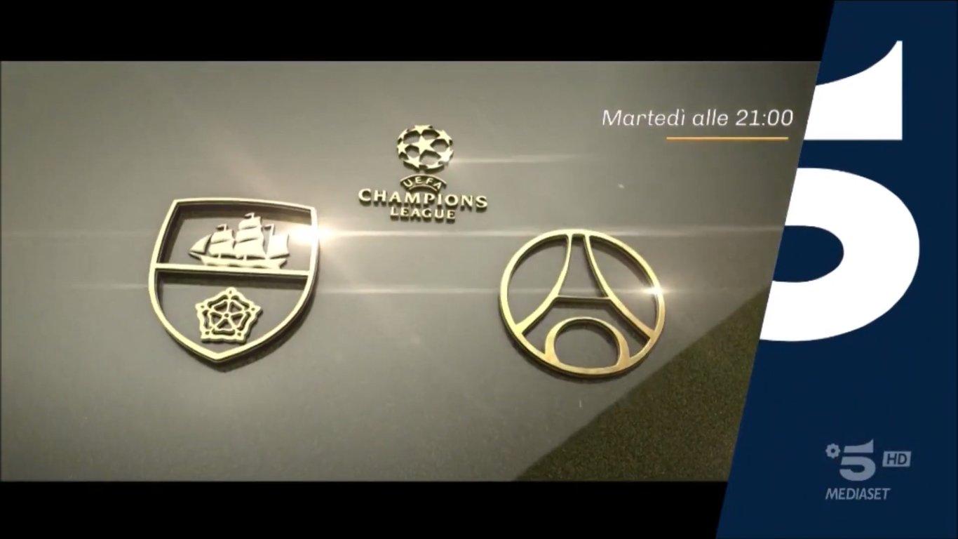 Champions, Manchester City PSG Diretta Canale 5, Telecronisti Sport Mediaset