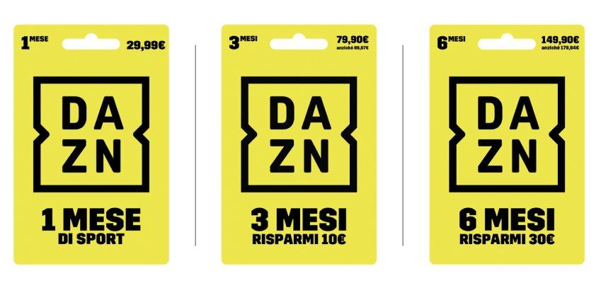 Arrivano nei punti vendita le nuove carte con i codici prepagati DAZN