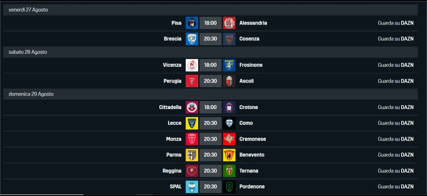DAZN Serie B 2021/22 2a Giornata, Palinsesto Telecronisti (27 - 29 Agosto)