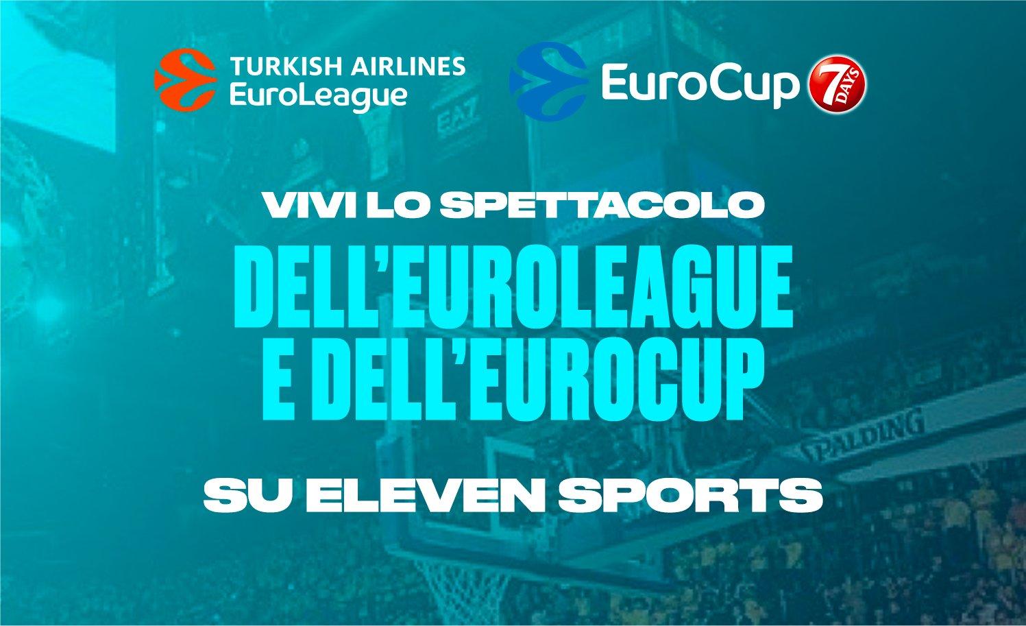 Basket Euroleague ed Eurocup entrano nella offerta streaming Eleven Sports