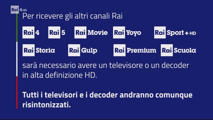 RAI, spot per lo switch off dei canali tematici in MPEG4 dal 20 Ottobre 2021