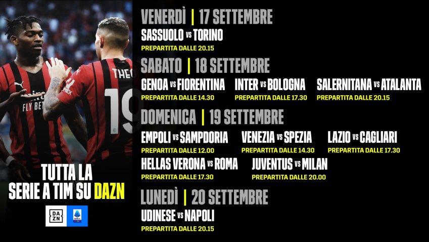 DAZN Serie A 2021/22 Diretta 4a Giornata, Palinsesto Telecronisti