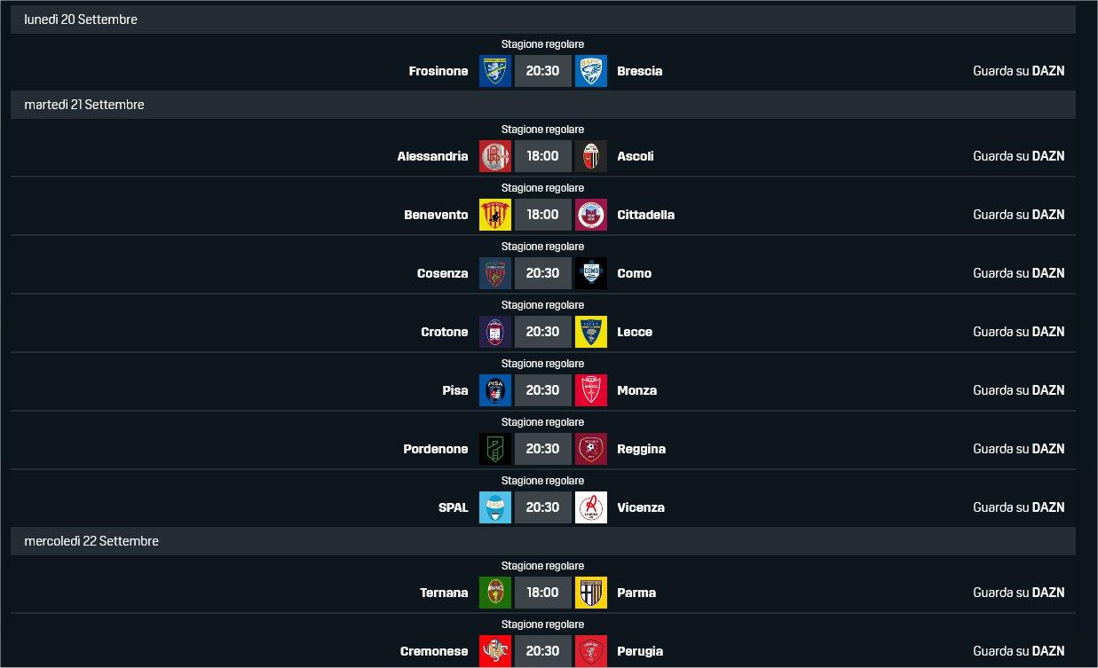 DAZN Serie B 2021/22 5a Giornata, Palinsesto Telecronisti (20 - 22 Settembre)