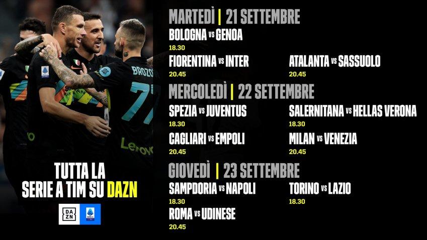 DAZN Serie A 2021/22 Diretta 5a Giornata, Palinsesto Telecronisti