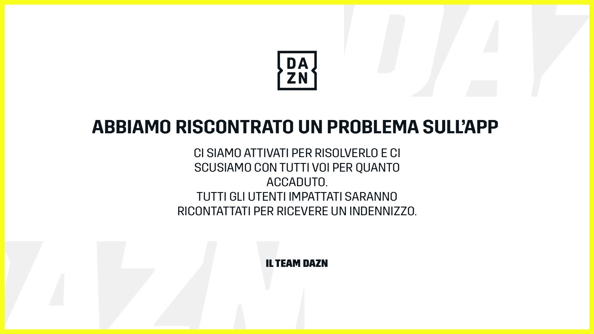 Problema tecnico DAZN durante Serie A, indenizzo agli utenti impattati