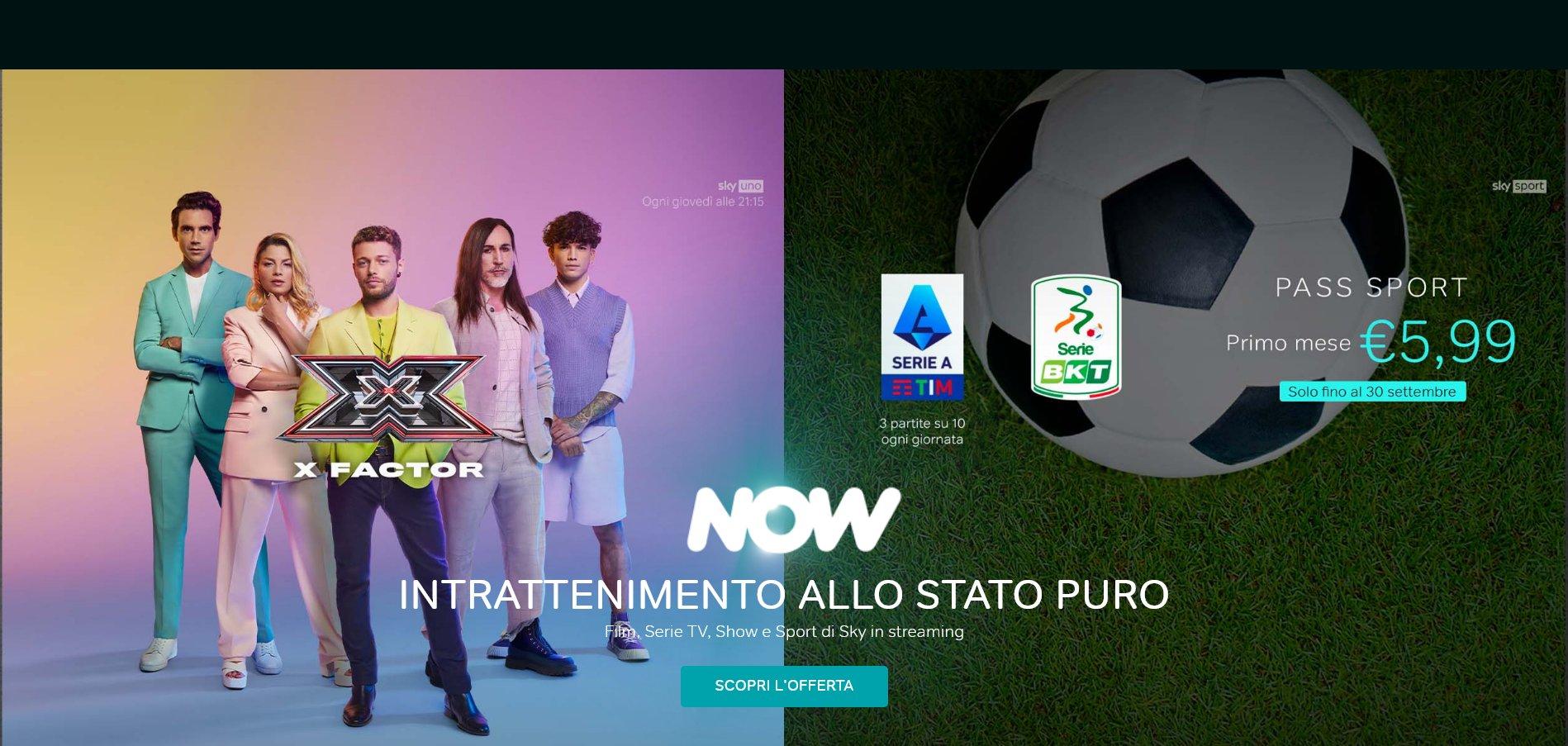 Pass Sport NOW a 5,99€ per il primo mese, continua offerta fino al 30/9